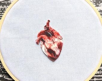 Anatomical Heart Needle Minder Needleminder Needle Holder Goth Gothic Horror Halloween Creepy Odd Shrink Plastic