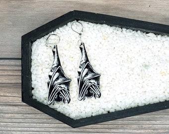 Hanging Bat Earrings Goth Gothic Scary Odd Creepy Halloween Horror Earrings Fun Gift