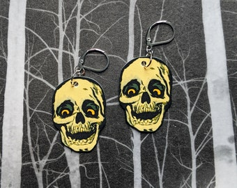 Vintage Creepy Skull Earrings Goth Gothic Scary Odd Creepy Halloween Horror Earrings Fun Gift
