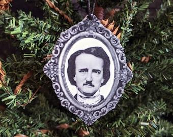Edgar Allan Allen Poe Ornament Goth Gothic Christmas Holiday Horror Creepy Odd Ornament Fun Gift
