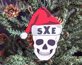 Straight Edge Santa Skull Ornament Goth Gothic Christmas Holiday Horror Creepy Odd Ornament Fun Gift