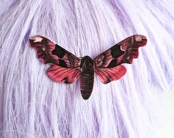 Vintage Pink Moth Hair Clip Horror Goth Gothic Halloween Hair Clip Durable Wearable Art