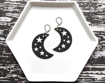 Crescent Moon Stars Earrings Halloween Gothic Goth Witch Magic Magick Earrings Durable Wearable Art