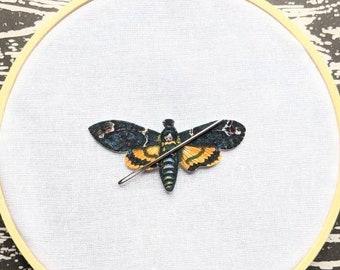 Death's Head Hawkmoth Needle Minder Needleminder Needle Holder Moth Nature Insect Goth Gothic Horror Halloween Creepy Odd Shrink Plastic