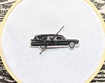 Vintage Hearse Needle Minder Needleminder Needle Holder Funeral Car Death Cab Goth Gothic Horror Halloween Creepy Odd Shrink Plastic