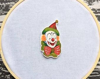 Creepy Clown Circus Needle Minder Needleminder Needle Holder Goth Gothic Horror Halloween Creepy Odd Shrink Plastic