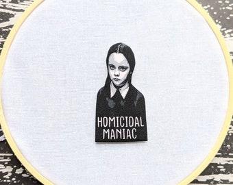 Wednesday Addams Homicidal Maniac Needle Minder Needleminder Needle Holder Goth Gothic Horror Halloween Creepy Odd Shrink Plastic