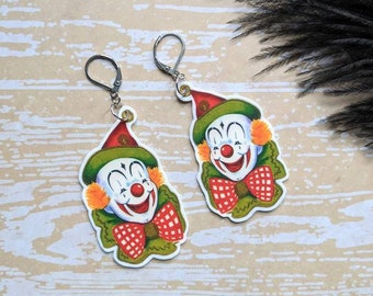 Vintage Creepy Clown Earrings Goth Gothic Scary Odd Creepy Halloween Horror Earrings Fun Gift