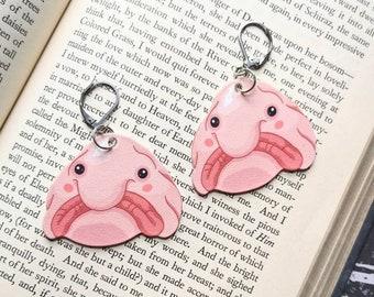 Blobfish Blob Fish Earrings Sad Scary Odd Nautical Ocean Creepy Horror Earrings Fun Gift