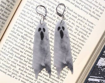 Sheet Ghost Earrings Agony Sorrow Sadness Goth Gothic Scary Odd Creepy Halloween Horror Earrings Fun Gift