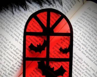Red Halloween Window Bats Clear Bookmark Goth Gothic Halloween Horror Creepy Oddities