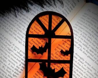 Orange Halloween Window Bats Clear Bookmark Goth Gothic Halloween Horror Creepy Oddities