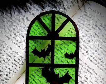 Green Halloween Window Bats Clear Bookmark Goth Gothic Halloween Horror Creepy Oddities
