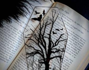 Bats Dead Tree Coffin Clear Bookmark Goth Gothic Halloween Horror Creepy Oddities