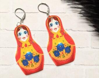 Hanson Russian Doll Earrings Hanson Fan Fanson MS5 Fun Gift Shrink Plastic