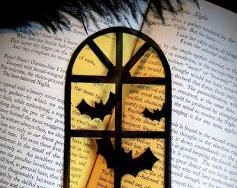 Halloween Window Bats Clear Bookmark Goth Gothic Halloween Horror Creepy Oddities