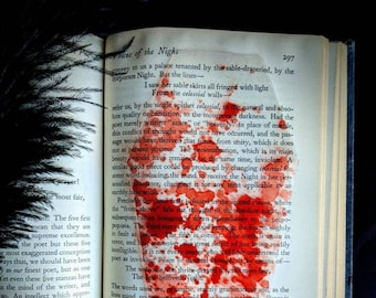 Blood Splatter Coffin Clear Bookmark Goth Gothic Halloween Horror Creepy Oddities