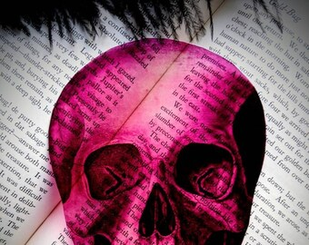 Pink Skull Clear Bookmark Skeleton Goth Gothic Halloween Horror Creepy Spooky Anatomy Oddities