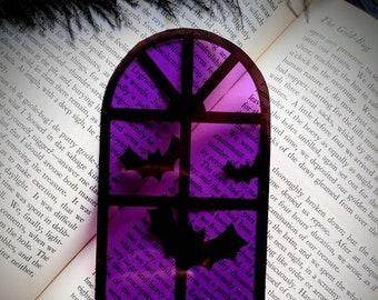 Purple Halloween Window Bats Clear Bookmark Goth Gothic Halloween Horror Creepy Oddities