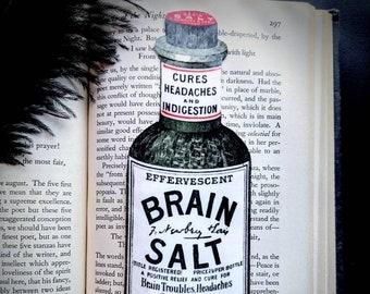 Brain Salt Apothecary Bottle Bookmark Goth Gothic Halloween Horror Creepy Oddities