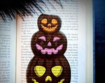 Clear Bookmark Black Jack O' Lanterns Pumpkins Goth Gothic Halloween Horror Creepy Oddities