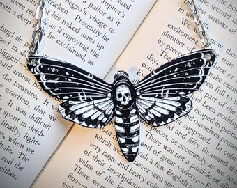Illustrated Black and White Death Head Hawk Moth Necklace Statement Nature Bridesmaid Wedding Gift Durable Wearable Art