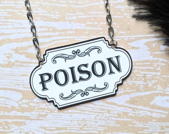 Poison Necklace Apothecary Label Bottle Victorian Horror Halloween Goth Gothic Witch Durable Wearable Art Unique Gift