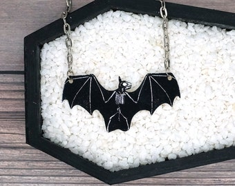 Bat Skeleton Necklace Horror Goth Gothic Halloween Odd Creepy Durable Wearable Art