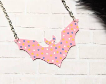 Frosted Circus Animal Cookie Bat Necklace Nostalgia Fun Pastel Goth Gothic Odd Halloween Wearable Art Shrink Plastic