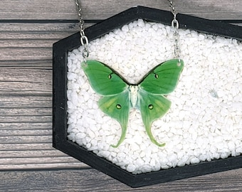 Luna Moth Giant Silk Moth Necklace Statement Nature Necklace Bridesmaid Gift Wedding Gift Durable Wearable Art