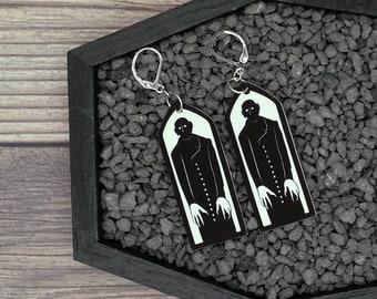 Nosferatu Earrings Vampire Earrings Goth Gothic Scary Odd Creepy Halloween Horror Earrings Fun Gift
