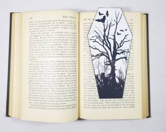 Bats Dead Tree Coffin Bookmark Goth Gothic Halloween Horror Creepy Oddities