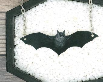 Black Bat Necklace Halloween Necklace Horror Necklace Spooky Necklace Pendant Jewelry Durable Wearable Art