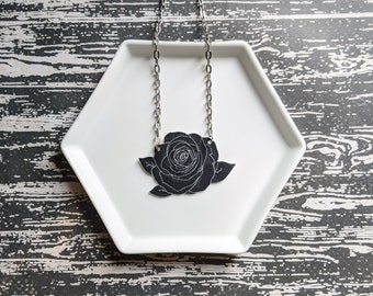 Black Rose Flower Necklace Necklace Gothic Horror Unusual Odd Necklace Durable Wearable Art