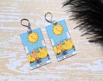 The Moon Tarot Card Earrings Witch Earrings Horror Earrings Creepy Earrings Gothic Earrings Halloween Earrings Wearable Art