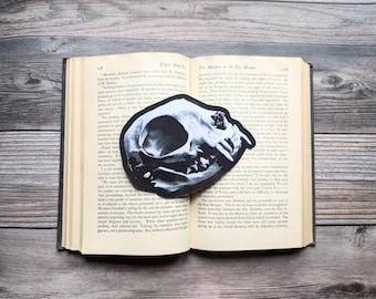 Cat Feline Skull Bookmark Domestic Nature Natural Goth Gothic Halloween Horror Creepy Oddities