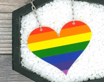 LGBTQ Pride Necklace Rainbow Heart Necklace Gay Pride Necklace Gay Pride Gift Rainbow Gift