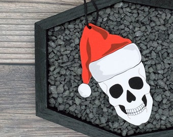 Santa Skull Ornament Goth Gothic Christmas Holiday Horror Creepy Odd Ornament Fun Gift