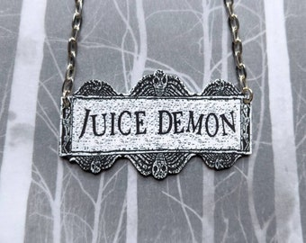 Juice Demon Beetlejuice Parody Necklace Gothic Horror Unusual Odd Necklace Durable Wearable Art