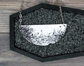 Black and White Birds On Branches Necklace Statement Nature Necklace Bridesmaid Gift Wedding Gift Durable Wearable Art