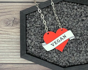 Vegan Necklace Heart Tattoo Rockabilly Psychobilly Necklace Durable Wearable Art