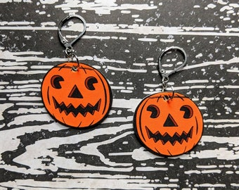 Jack O Lantern Pumpkin Earrings Goth Gothic Scary Odd Creepy Halloween Horror Earrings Fun Gift