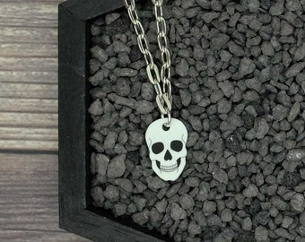 White Skull Necklace Skeleton Necklace Horror Necklace Creepy Necklace Gothic Necklace Halloween Necklace Durable Wearable Art