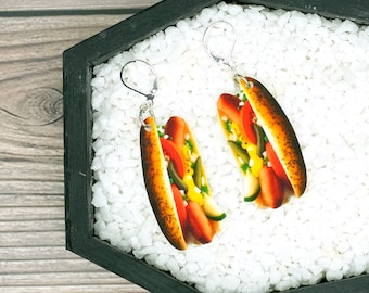 Chicago Style Hot Dog Earrings Food Earrings No Ketchup Earrings Gag Gift Fun Gift