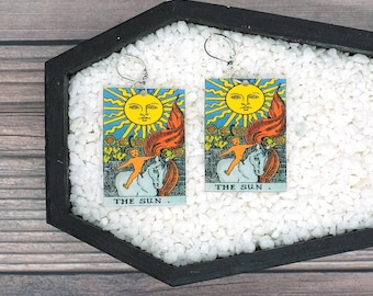 The Sun Tarot Card Earrings Witch Earrings Horror Earrings Creepy Earrings Gothic Earrings Halloween Earrings Wearable Art