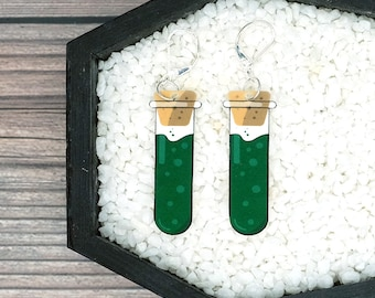Green Vial Earrings Science Scientific Laboratory Lab Chemistry Chem Earrings Durable Wearable Art