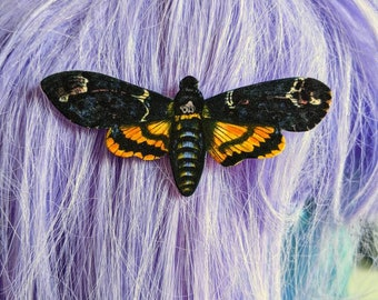 Death Head Hawk Moth Hair Clip Horror Goth Gothic Halloween Hair Clip Durable Wearable Art