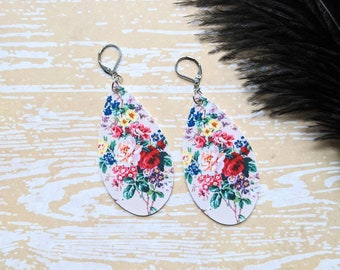 Spring Bouquet Flowers Floral Tear Drop Earrings Goth Gothic Creepy Odd Halloween Horror Durable Wearable Art
