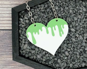 Pastel Goth Green Dripping Monster Blood Slime Necklace Gothic Creepy Odd Dark Halloween Horror