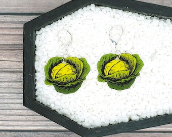 Green Cabbage Earrings Vegetable Garden Farm Food Funny Gag Earrings Funny Gift Durable Wearable Art